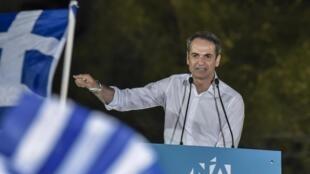 Kyriakos Mitsotakis durante su último discurso en Atenas, este 4 de julio de 2019.