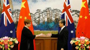 (Ảnh minh họa) – Ngoại trưởng Trung Quốc Vương Nghị và ngoại trưởng Úc Payne, trong một cuộc họp báo tại Bắc Kinh, Trung Quốc, ngày 08/11/2018.
