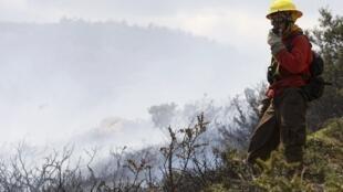 Bombeiro controla incêndio no Parque Torres del Paine, no sudoeste da Patagônia, neste domingo.