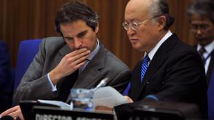 رافائل گروسی و یوکیو آمانو مدیرکل آژانس بین المللی انرژی اتمی
