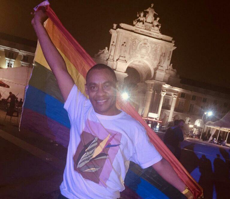 Alex de Lima na Gay Pride na Praça do Comércio em Lisboa