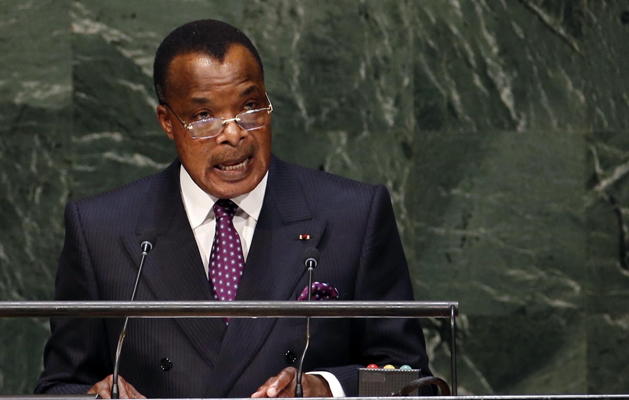 Le chef de l'Etat congolais Denis Sassou-Nguesso, à l'Assemblée générale des Nations unies à New York, le 26 septembre 2014.