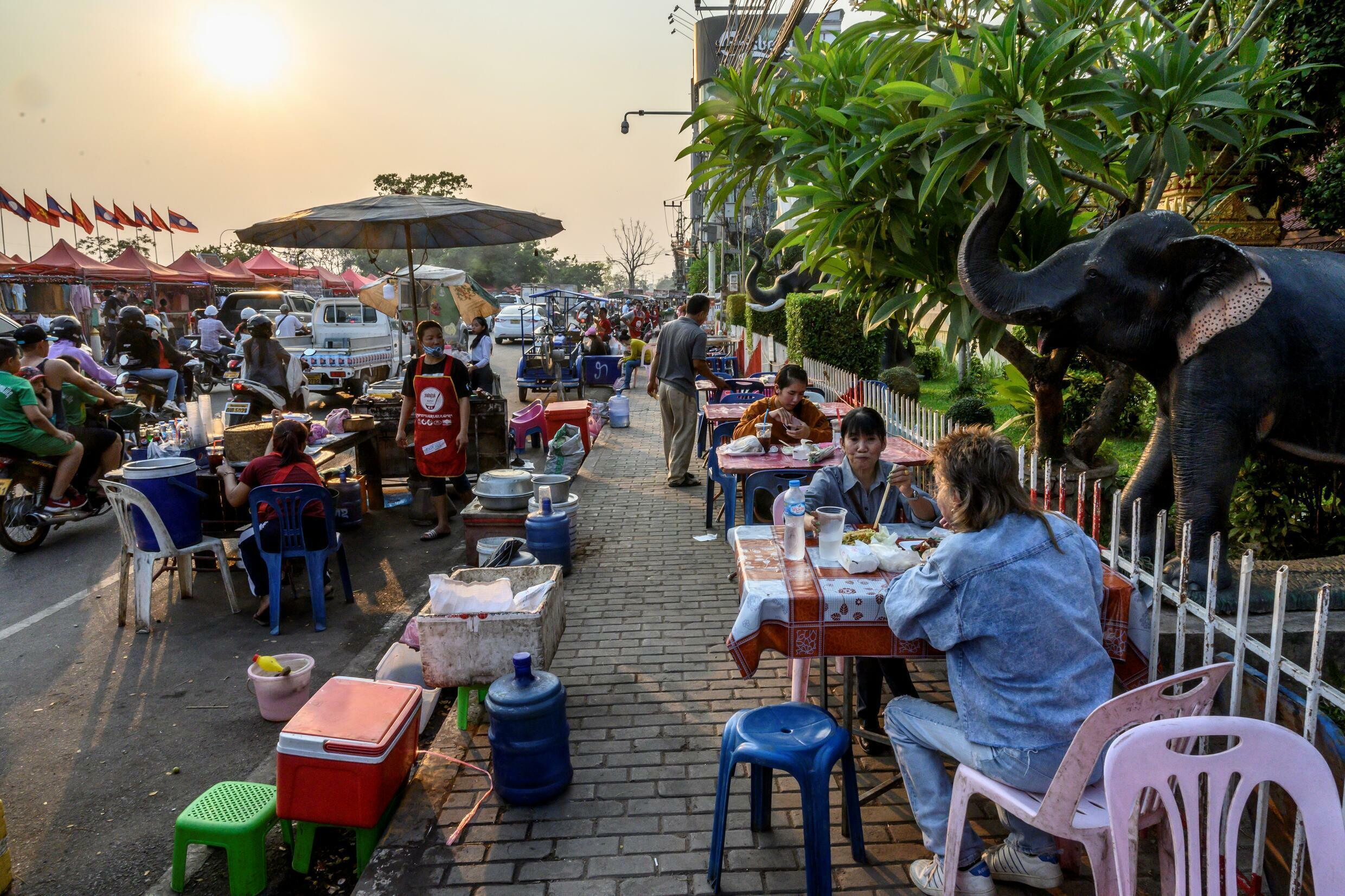 Selling street food in the Laos capital Vientiane has been banned as part of Covid restrictions
