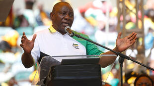 South African President Cyril Ramaphosa addresses ANC rally in Durban January 12  2019.