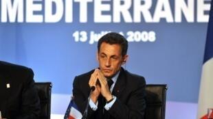 Le président français Nicolas Sarkozy, lors du sommet fondateur de l'Union pour la Méditerranée à Paris, le 13 juillet 2008.