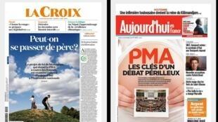 Jornais La Croix e Le Parisien dão manchete de capa ao início dos debates sobre a lei de bioética no Parlamento.