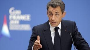 Le président Nicolas Sarkozy, lors de la réunion des ministres du Travail du G20, le 26 septembre 2011 à Paris.