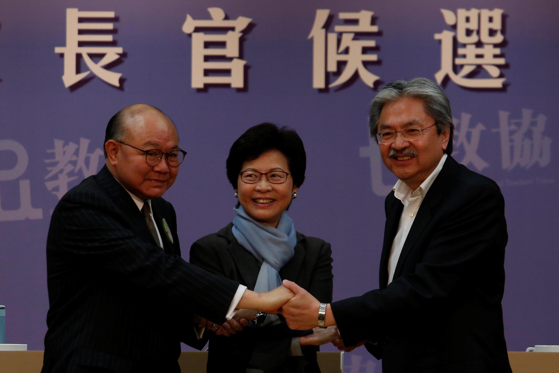 2017年3月12日,香港特首选举三名入闸候选人首次举行公开辩论。从左至右:胡国兴,林郑月娥,曾俊华