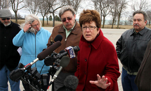 The Survivors Network of those Abused by Priests hold a news conference in St Francis, Wisconsin on 25 March, 2010