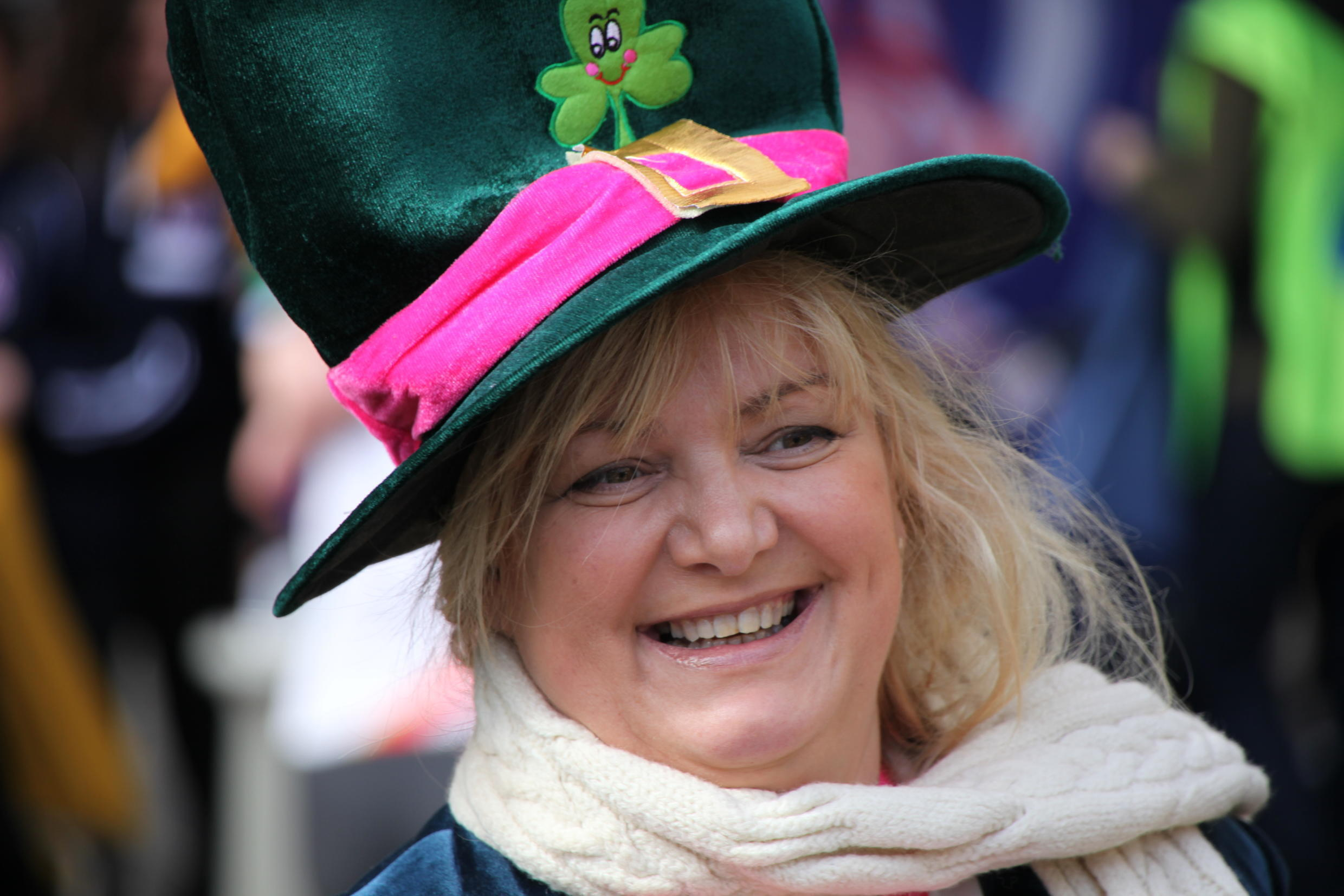 A leprechaun hat with shamrock attached.