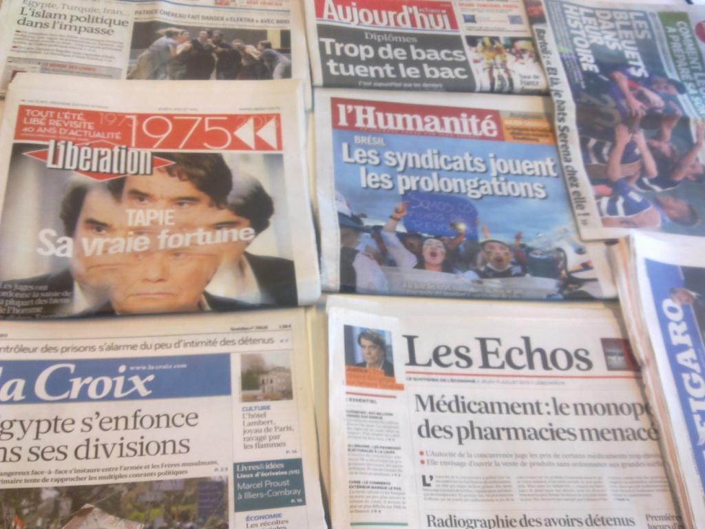 Capas dos diártios franceses 11/07/2013