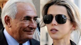 Dominique Strauss-Kahn e Tristane Banon no dia da acareação em Paris.