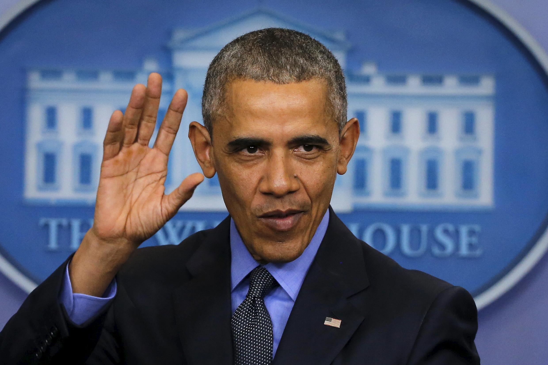 Le président américain Barack Obama lors de son discours de fin d'année, à la Maison Blanche, le 18 décembre 2015.