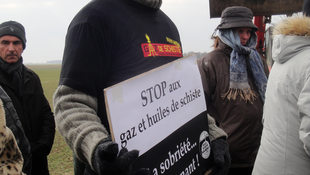 Anti-fracking protester in Jouarre