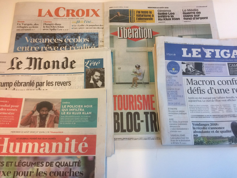 Primeiras páginas dos jornais franceses de 22 de agosto de 2018