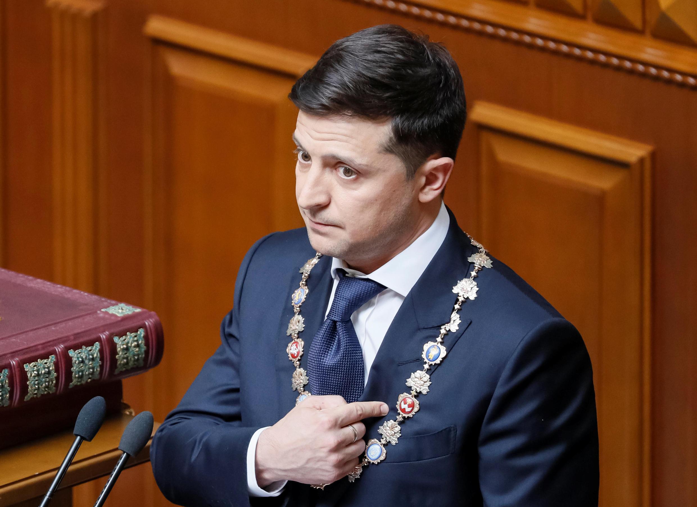 Владимир Зеленский во время инаугурации 20 мая 2019.