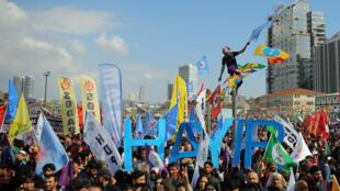 Une manifestation pro-kurdes pour le «non» au référendum.