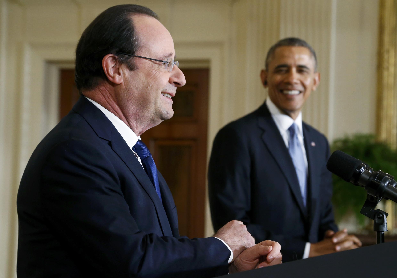 Os presidentes François Hollande e Barack Obama, durante coletiva na Casa Branca, 11/02/ 2014.