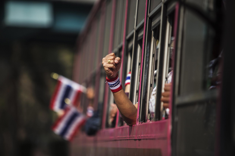 Chính trường Thái Lan luôn tiềm ẩn nguy cơ xung đột. ( Ảnh cuộc biểu tình chống chính phủ hôm 29/1/2014 tại Bangkok)