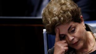 La destituida presidenta Dilma Rousseff en el Senado brasileño, 29 de agosto de 2016.