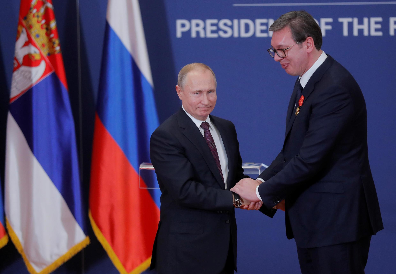 Владимир Путин и Александр Вучич во время визита президента России в Сербию, январь 2019 г.