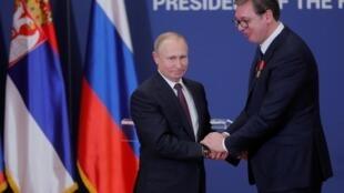 Aleksandar Vucic et Vladimir Poutine lors de la visite du président russe en Serbie en janvier 2019.