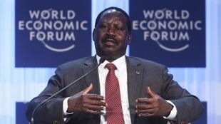 Kenya's Prime Minister Raila Amollo Odinga attends a session at the World Economic Forum in Davos, 26 January, 2012