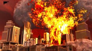 Représentation en 3D de l'explosion d'une bombe sur une ville.