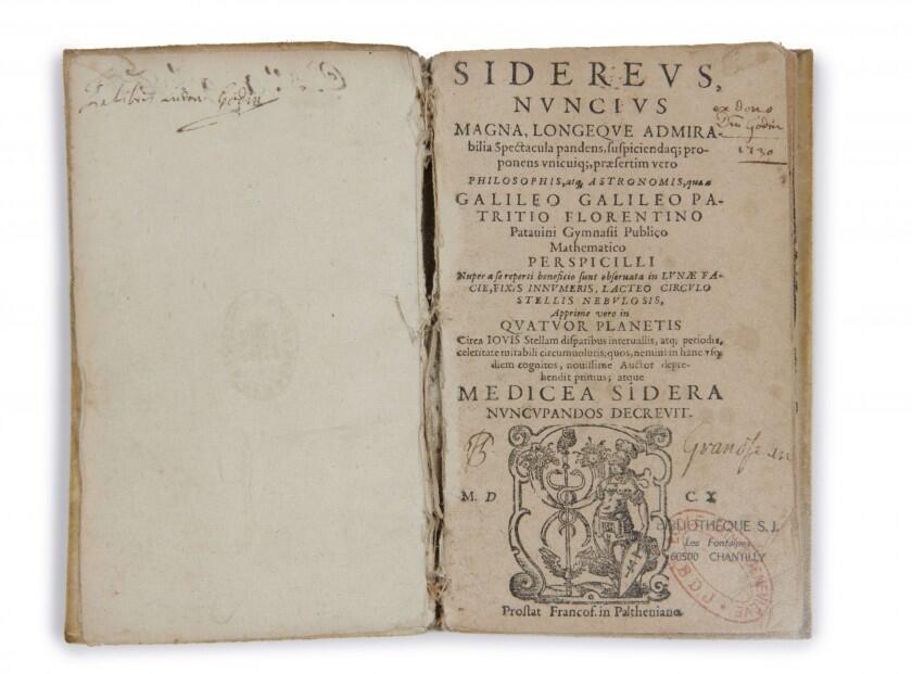 """Primera página del  """"Sidereus Nuncius"""" de Galileo Galilei, 1610."""