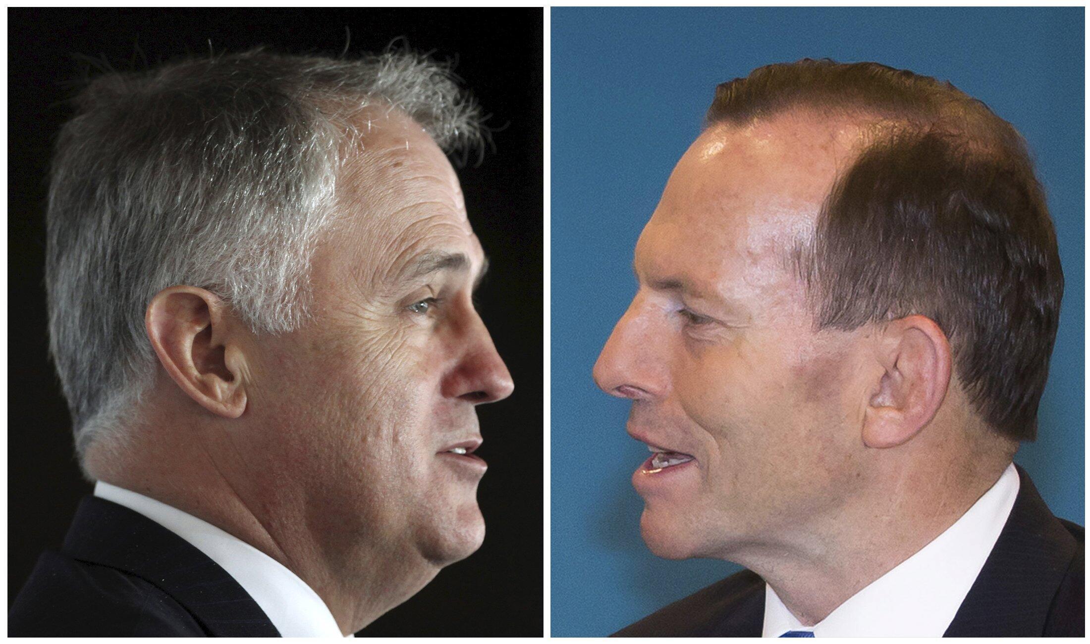 លោកថូនី អាបូត (Tony Abbott រូបស្តំា) និងលោកម៉ាល់ខម ថឺនប៊ុល (Malcolm Turnbull)