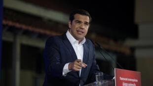 Le Premier ministre grec Alexis Tsipras lors d'un discours le 3 mai 2018 à Lesbos.