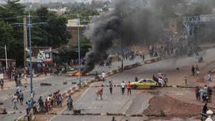 Anti-government protesters burn tyres and erect barricades in the capital Bamako, Mali on 10 July 2020.