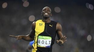 Mwanariadha kutioka Jamaica Usain Bolt baada ya ushindi wake katika mbio za mita 100 katika mashindano ya Michezo ya Olimpiki 2016.