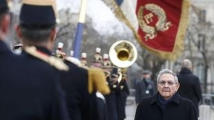There was pomp and ceremony - but only a small audience - for Raul Castro at the Arc de Triomphe in Paris on Monday