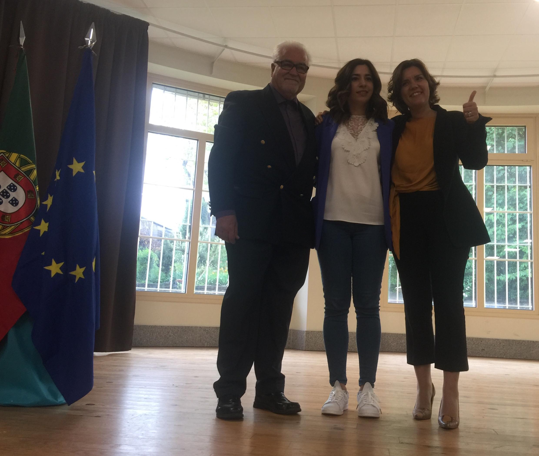 Isaías Afonso (mandatário para a Europa da lista do CDS-PP), Melissa Dias da Silva (candidata) e Assunção Cristas (líder do CDS-PP).