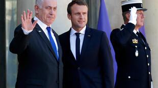 French President Emmanuel Macron greets Israel's Prime Minister Benjamin Netanyahu as he arrives at the Elysee Palace in Paris French Prsident Emmanuel Macron greets Israeli Prime Minister Benjamin Netanyahu as he arrives at the Elysee Palace in France.