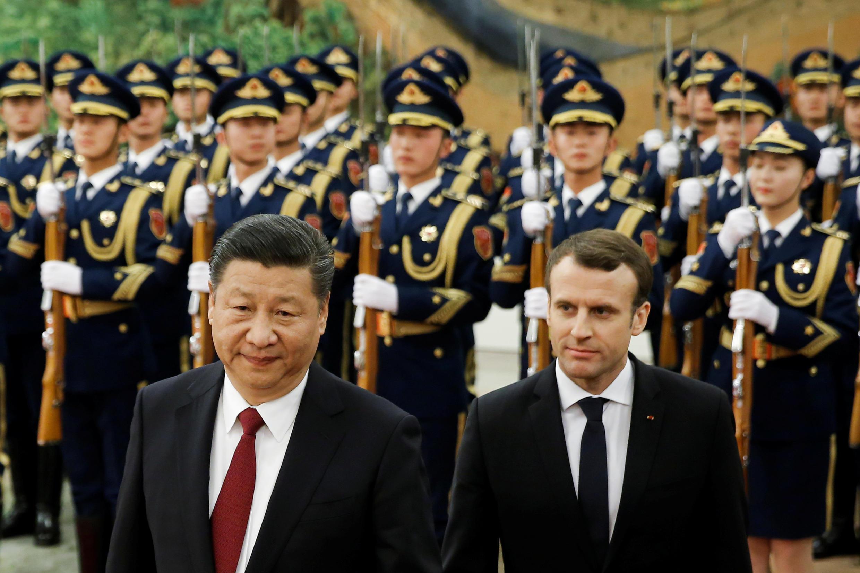 Emmanuel Macron et le président chinois Xi Jinping, à Pékin en Chine, le 9 janvier 2018.