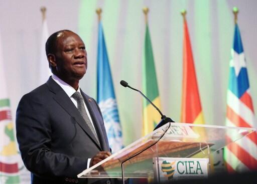 Le président ivoirien Alassane Ouattara lors de l'ouverture de la  conférence internationale sur l'émergence économique.
