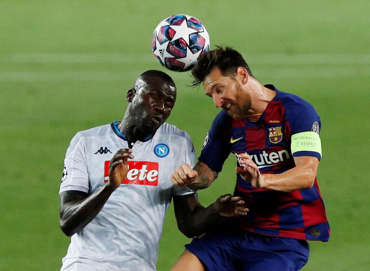 L'Argentin Lionel Messi et le FC Barcelone ont pris le meilleur sur Kalidou Koulibaly et Naples, ce 8 août 2020, en huitième de finale retour de la Ligue des champions.