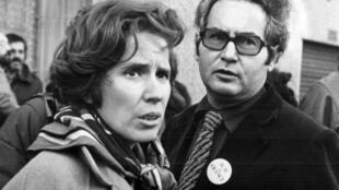 Beate et Serge Klarsfeld, lors de l'ouverture du procès de Cologne contre Lischka, Hagen et Heinrichsohn. Allemagne, le 23 octobre 1979.