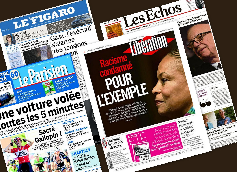 Capas dos jornais franceses Le Figaro, Les Echos, Libération e Le Parisien/Aujourd'hui en France desta quinta-feira, 17 de julho de 2014.