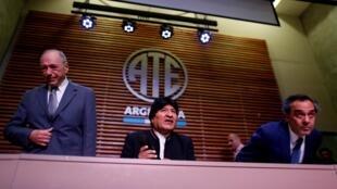 L'ex-président bolivien Evo Morales lors de sa conférence de presse à Buenos Aires le 21 février 2020.