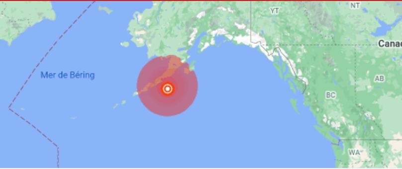 阿拉斯加附近發生里氏8.2級地震2021年7月29日