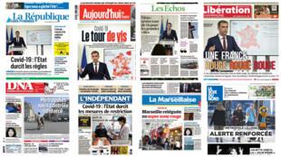 O recrudescimento das medidas de restrição contra o coronavírus é a principal manchete dos jornais franceses nesta quinta-feira (24).