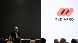 Le directeur général de Mediapro, Jaume Roures, durant une conférence de presse à Paris, le 21 octobre 2020.
