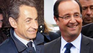Os candidatos à eleição presidencial Nicolas Sarkzoy (esq) e François Hollande (dir).