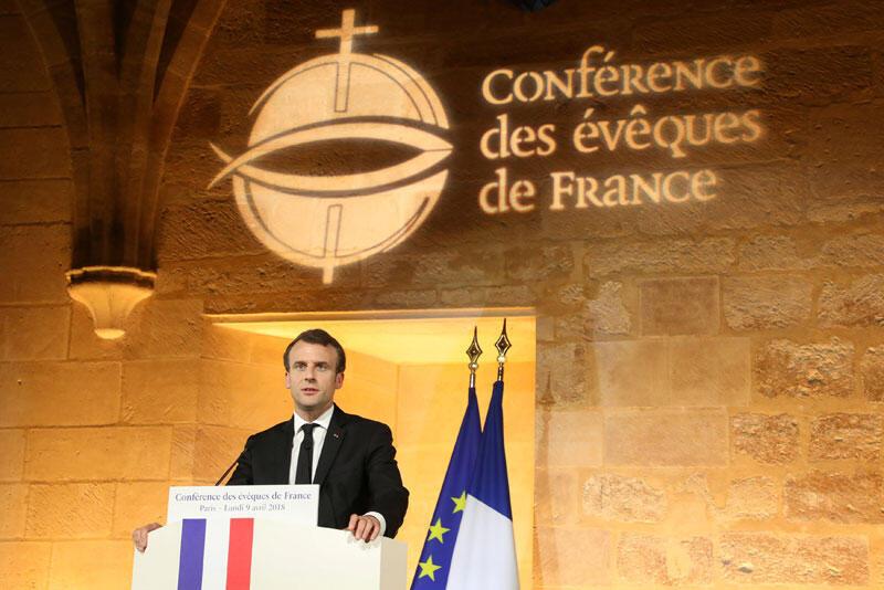 Эмманюэль Макрон произносит речь перед Конференцией епископов в Париже. 9 апреля 2018