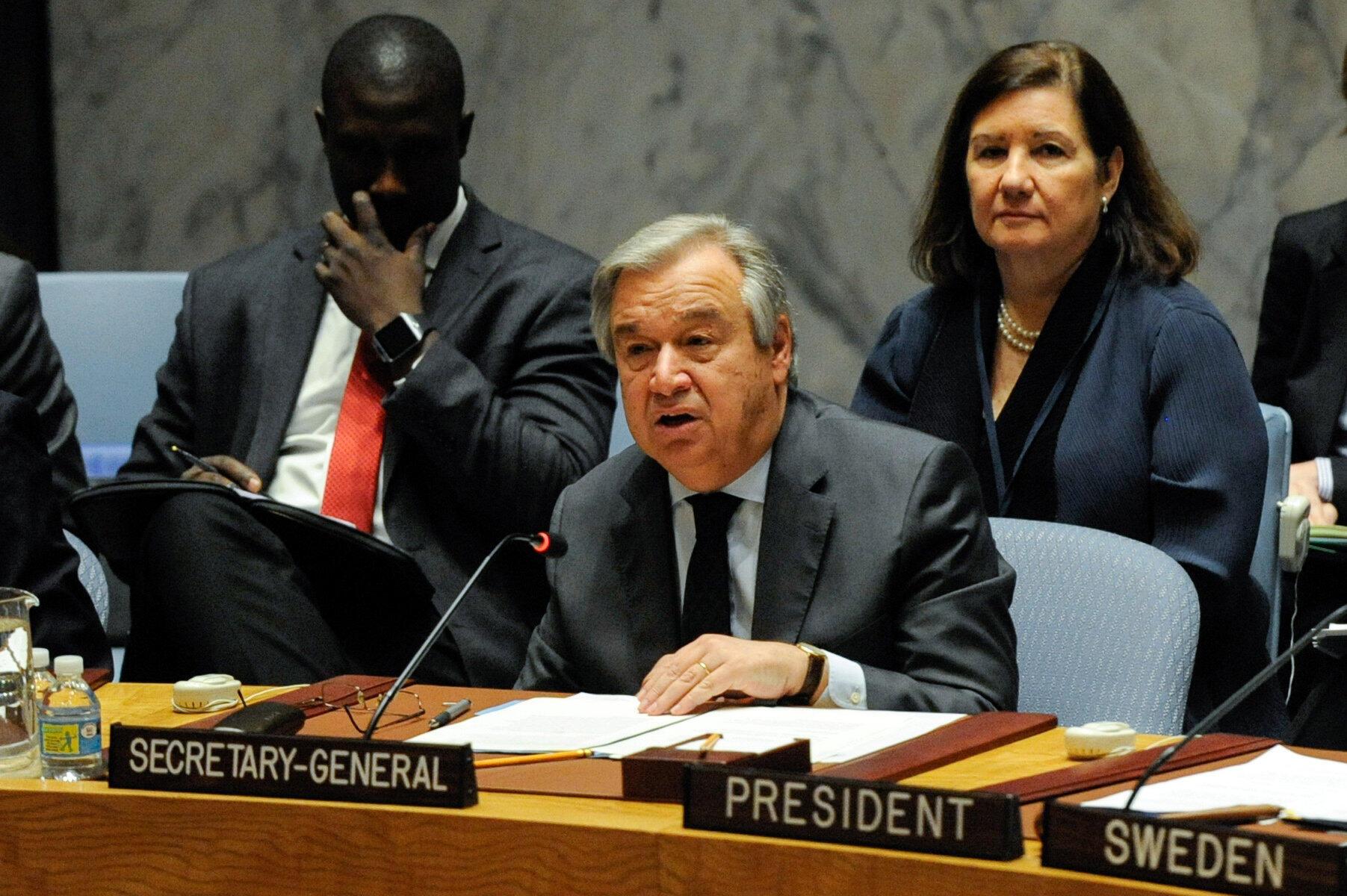 Ông Antonio Guterres trước Hội đồng Bảo an LHQ ngày 10/01/2017.