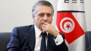 L'homme d'affaires et propriétaire de la chaîne Nessma TV Nabil Karoui, le 2 août 2019. Nabil Karoui, aujourd'hui en prison, est candidat à la présidentielle du 13 octobre.