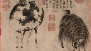 Desenho de Zhao Mengfu (1254-1322), um dos mais importantes pintores e calígrafos da dinastia Yuan, tinta sobre papel, realizado por volta de 1300.
